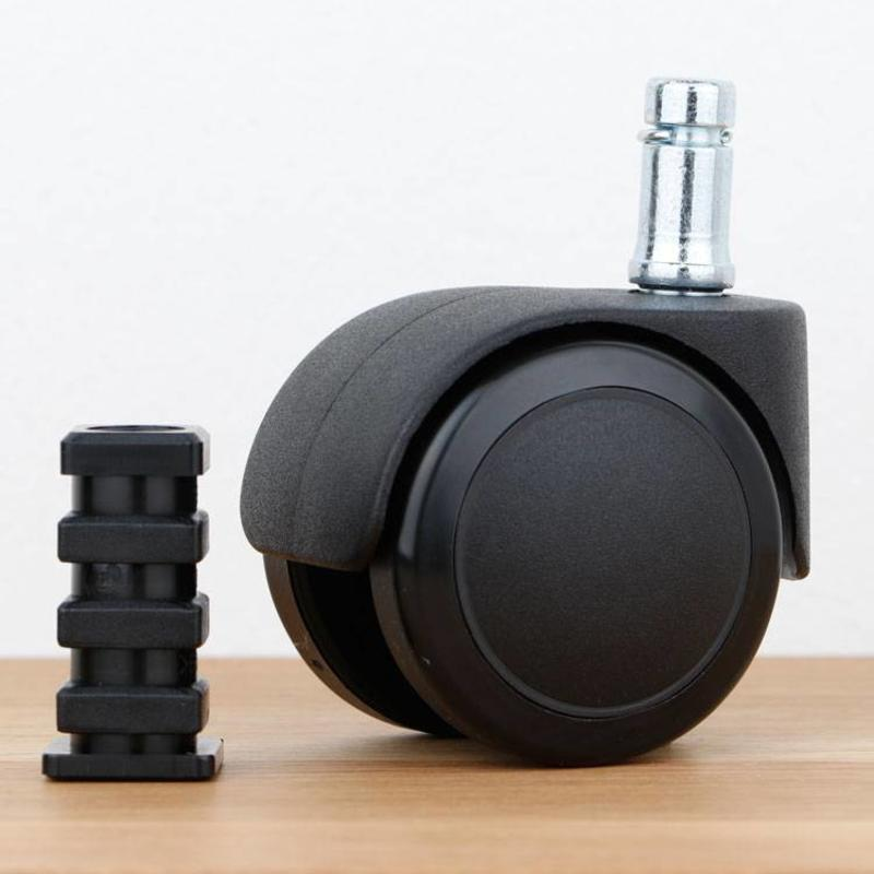 Bureaustoelwiel 50 mm zacht loopvlak met vierkante dop
