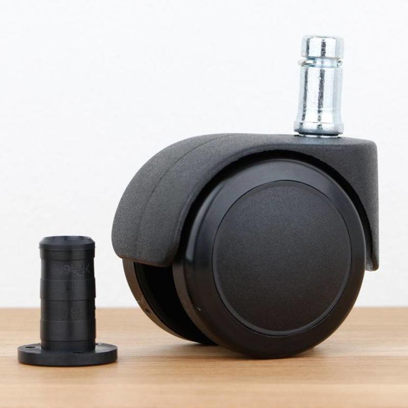 Bureaustoelwiel 50 mm zacht loopvlak met houtplug