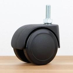 Bureaustoelwiel 50 mm zacht loopvlak met schroef