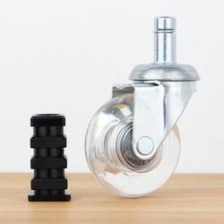 Meubelwiel inline 50 mm verzinkt zacht loopvlak vierkante dop