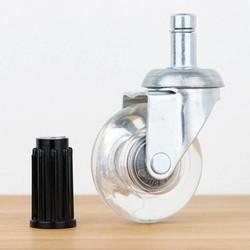 Meubelwiel inline 50 mm verzinkt zacht loopvlak ronde dop