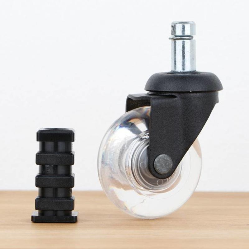 Meubelwiel inline 50 mm zwart zacht loopvlak met vierkante dop