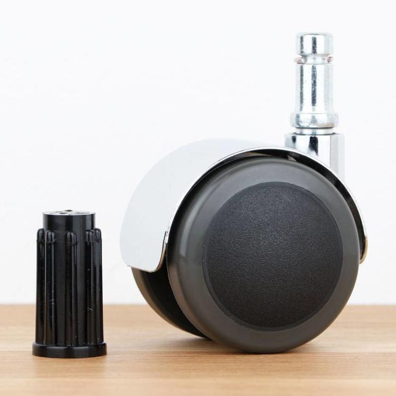 Bureaustoelwiel 50 mm chroom zacht loopvlak met ronde dop