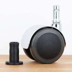 Bureaustoelwiel 50 mm chroom zacht loopvlak houtplug