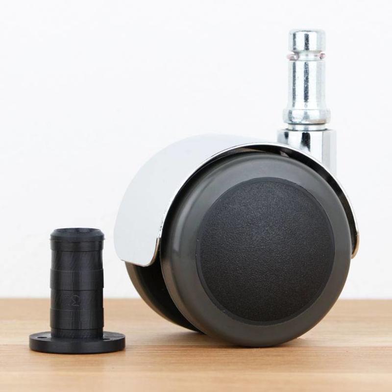 Bureaustoelwiel 50 mm chroom zacht loopvlak met houtplug