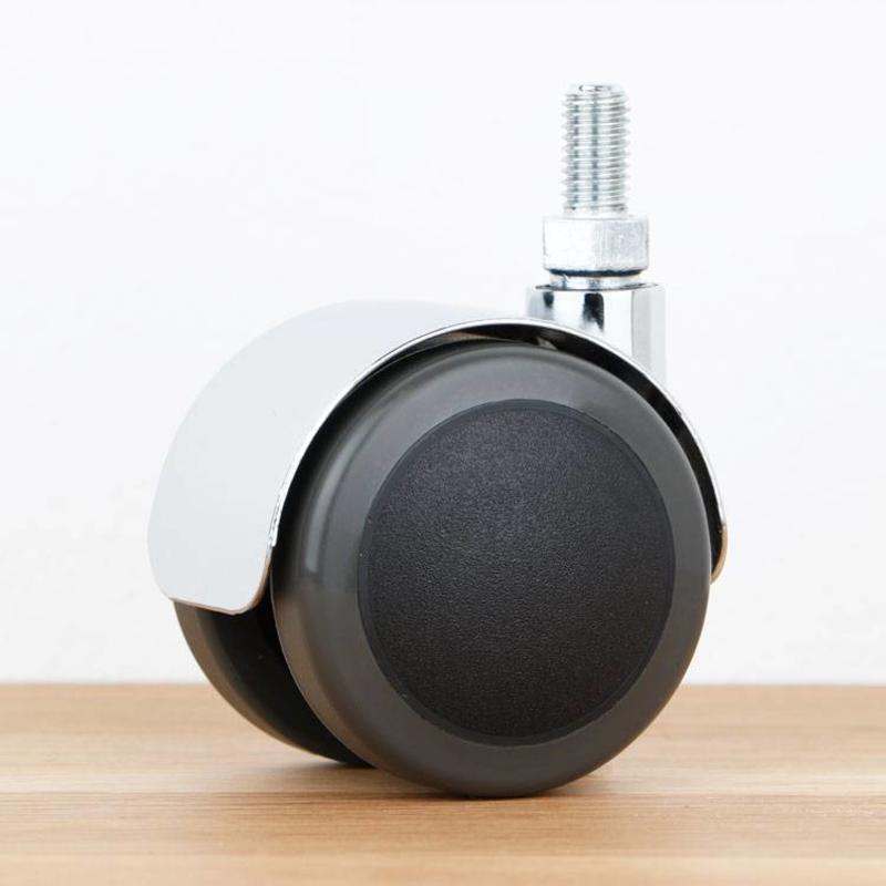 Bureaustoelwiel 50 mm chroom zacht loopvlak met schroef