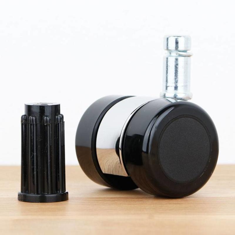 Meubelwiel 35 mm chroom zacht loopvlak met ronde dop