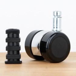 Meubelwiel 35 mm chroom zacht loopvlak vierkante dop