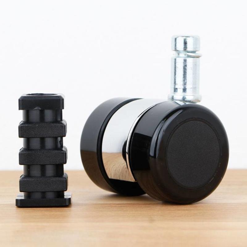 Meubelwiel 35 mm chroom zacht loopvlak met vierkante dop