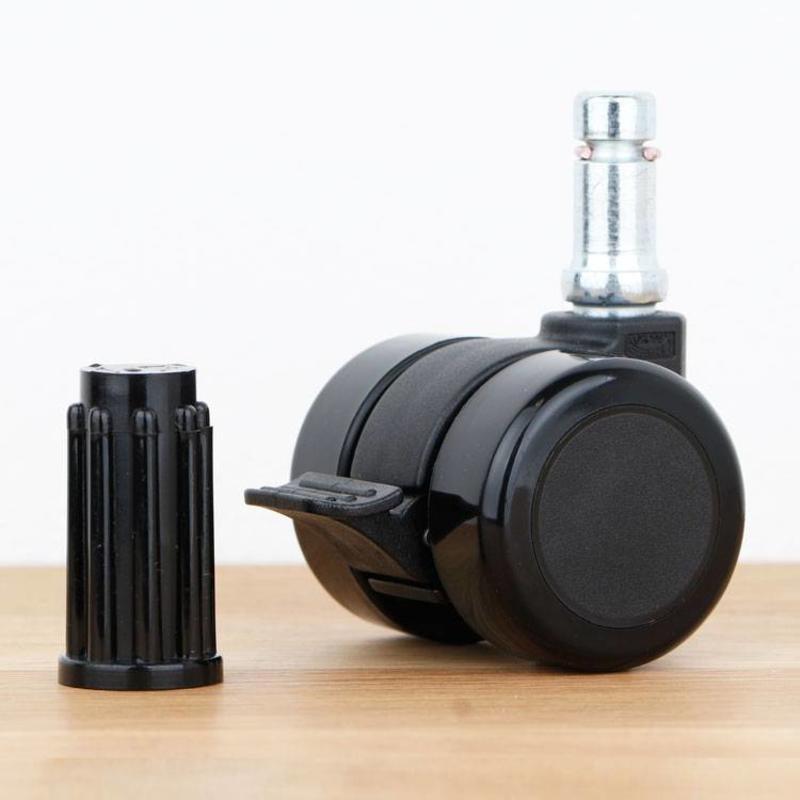 Meubelwiel 35 mm met rem zacht loopvlak met ronde dop