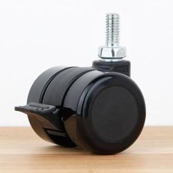 Meubelwiel 35 mm met rem zacht loopvlak met schroef