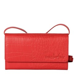 CLUTCH LILY leather retro red croco