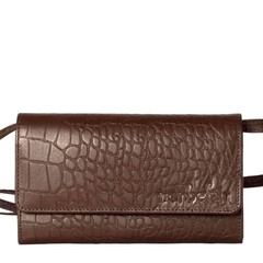 CLUTCH LILY leather brown croco