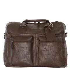 TRAVEL BAG VENEZIA  leather brown croco