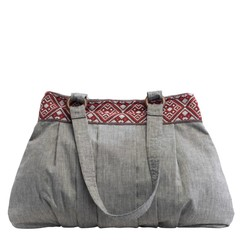 COTTON SHOULDER BAG OLIVIA grey