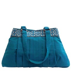 COTTON SHOULDER BAG OLIVIA blue