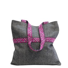 TWEED TOTE BAG CELINE grey