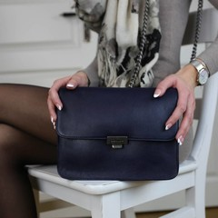 CLUTCH JANICE IN CHAINS eco-leather blue