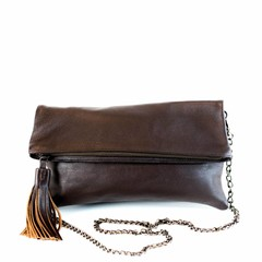 CLUTCH BAG ALLY leather brown