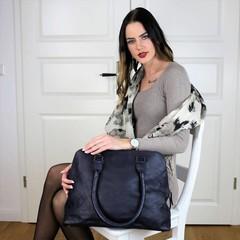 manbefair LAPTOP BAG SHOPPER HELENA leather blue
