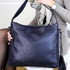 SHOPPER MILANO leather blue