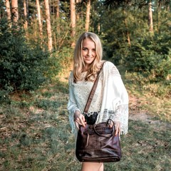 SHOPPER MAY leder schokobraun