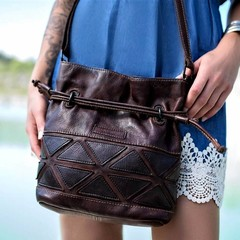 SMALL SHOULDER BAG BARI leather darkbrown