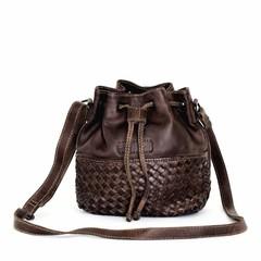 SMALL SHOULDER BAG SYDNEY leather darkbrown