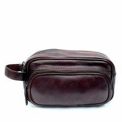 TOILET BAG TORONTO leather dark brown