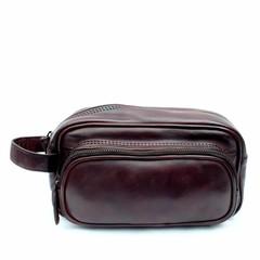 TOILET BAG TORONTO leather dark brown
