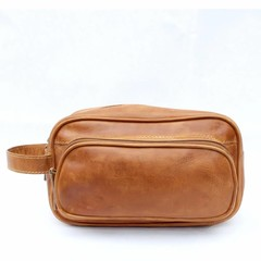 TOILET BAG TORONTO leather cognac