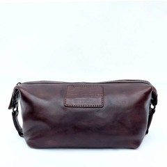 manbefair KARL TOILET BAG leather  dark brown