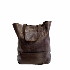 SHOPPER LORE leather darkbrown