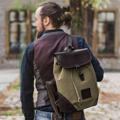 manbefair BACKPACK TERAMO canvas olive
