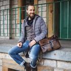 manbefair MESSENGER/LAPTOPTASCHE COLE Leder smokey-braun