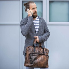 LAPTOPTASCHE SAM leder smokey braun