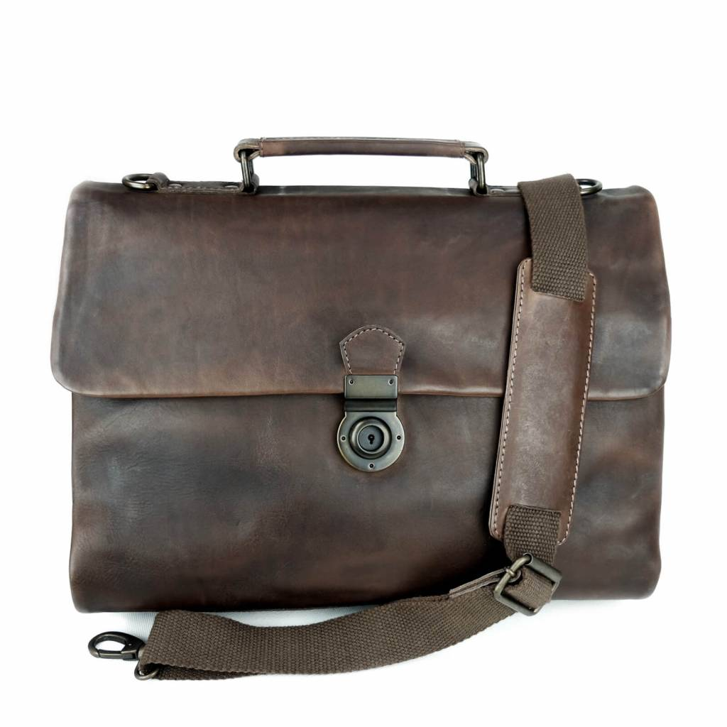 8281b7f19d57 Business-Bag, Briefcase, Odin, Leather, dark-brown, fairly made ...