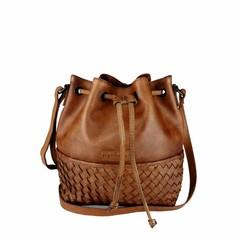 SMALL SHOULDER BAG SYDNEY leather reddish brown