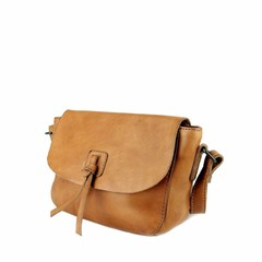 SHOULDER BAG LEONIE leather cognac