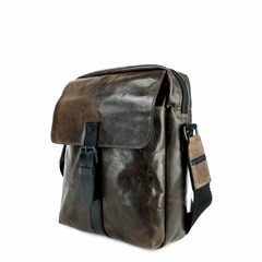 manbefair BRISTOL MESSENGER BAG leather smokey brown leather