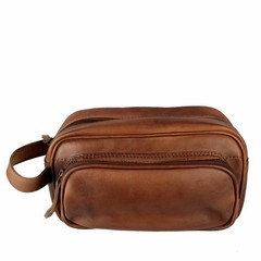 TOILET BAG TORONTO leather reddish brown