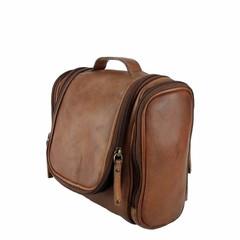 manbefair TRAVELBIRD TOILET BAG leather reddish brown