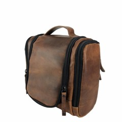 manbefair TRAVELBIRD TOILET BAG leather dalian brown