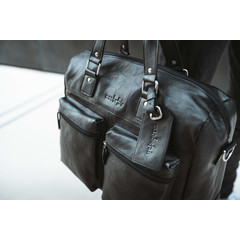 manbefair TRAVEL BAG VENEZIA leather black