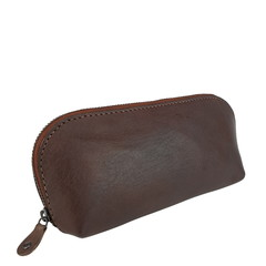 manbefair SMALL MAKE-UP BAG LONA leather dark brown
