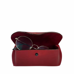 manbefair GLASSES CASE TRONDHEIM leather red