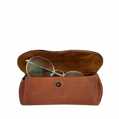 manbefair GLASSES CASE TRONDHEIM leather reddish brown