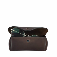 manbefair GLASSES CASE TRONDHEIM leather dark brown