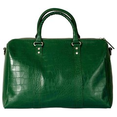 manbefair TAJ MAHAL TRAVEL BAG croco green leather