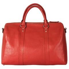 TAJ MAHAL TRAVEL BAG red croco leather